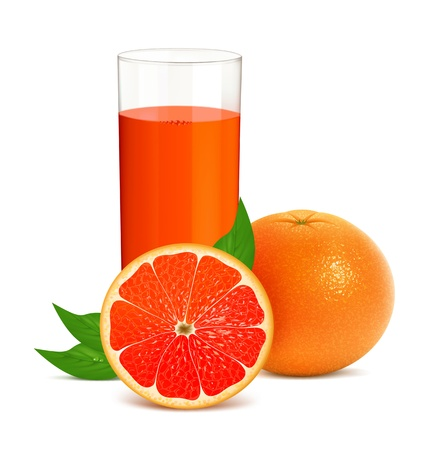 Vector illustration of fresh grapefruits with juice Çizim