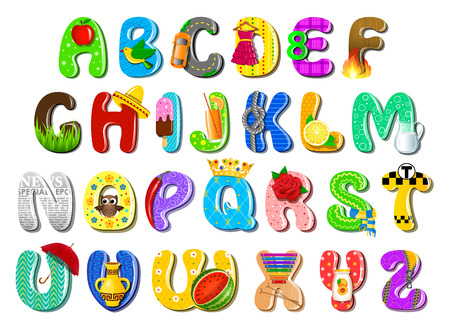 blue fire: Colorful children alphabet Illustration