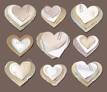 Old torn paper hearts Illustration
