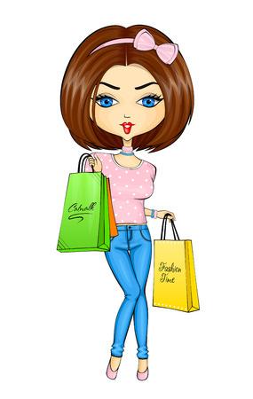 paperbag: Vector illustration of shopping girl