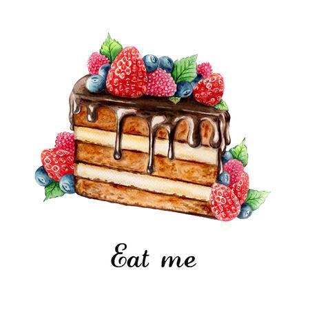 pastel de chocolate: Ilustración de la acuarela de pastel de chocolate pintado a mano con bayas de verano