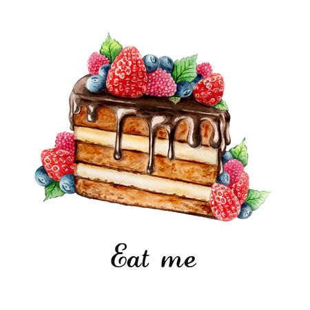 chocolate cake: Watercolor illustration of hand painted chocolate cake with summer berries Stock Photo