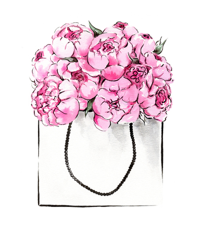 watercolor paper: Watercolor illustration of hand painted peonies in package