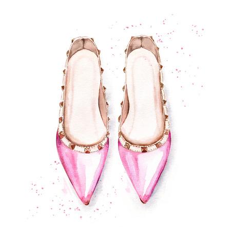 Ilustración de la acuarela pintada a mano de los zapatos de ballet de las mujeres de color rosa