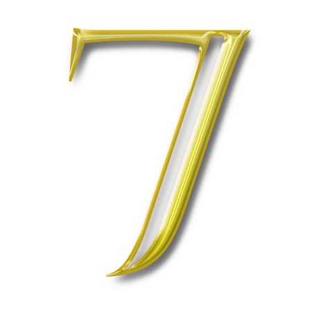 number seven: The number seven Golden color isolated on white background