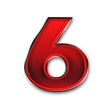 number six: Metal number six red color isolated on white background