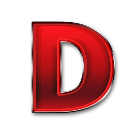 Metal letter D in red isolated on white background