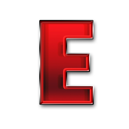 e white: Metal letter E in red isolated on white background