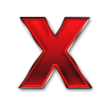 Metal letter X in red isolated on white background
