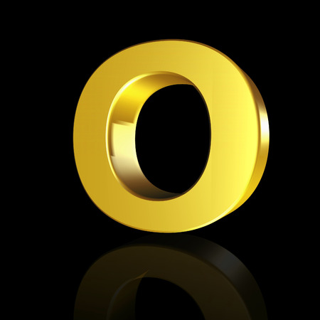Gold letter O in 3D isolated on black background Banco de Imagens