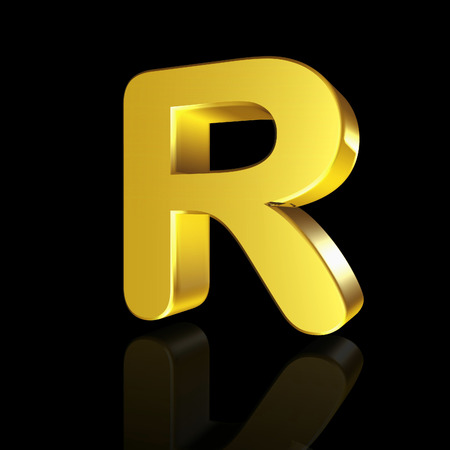 metal alphabet: Gold letter R in 3D isolated on black background