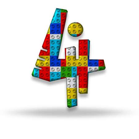 The digit four block designer, isolated on white background photo