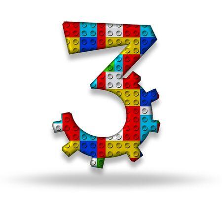 The digit three block designer, isolated on white background photo