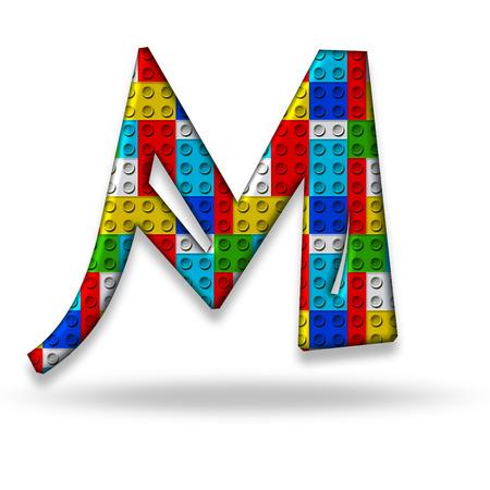 letter box: Letter M block designer, isolated on white background Stock Photo