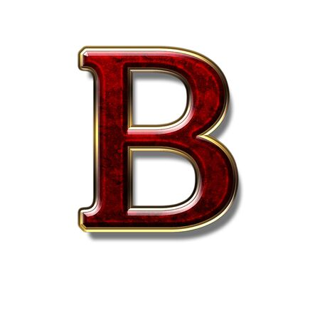 precious stone: Letter B - precious stone is red, isolated on white background