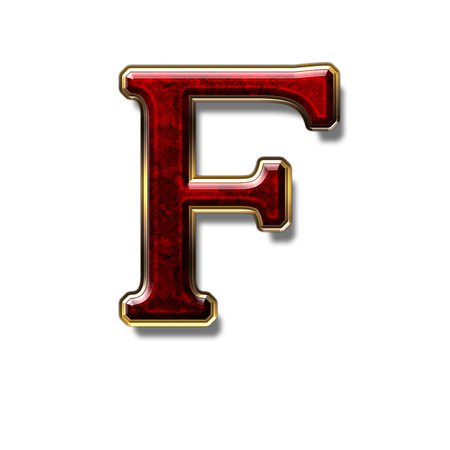 a precious: Letter F - precious stone is red, isolated on white background