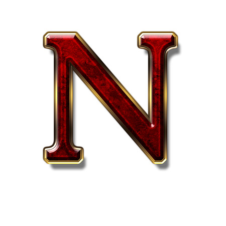alphabetic: Letter N - precious stone is red, isolated on white background Stock Photo