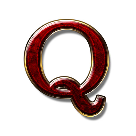 a precious: Letter Q - precious stone is red, isolated on white background