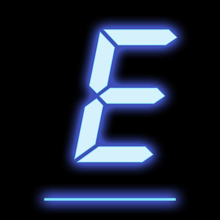 e new: LED letter E blue color, isolated on black background