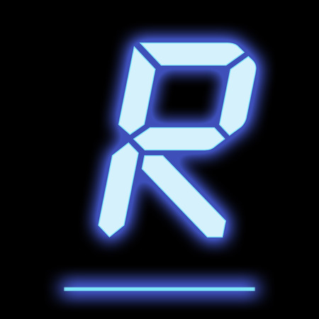 neon letter: LED letter R blue color, isolated on black background Stock Photo