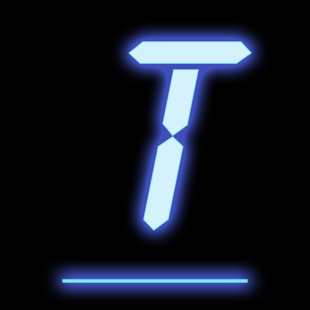 led: LED letter T blue color, isolated on black background
