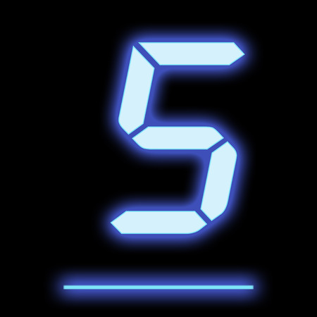display type: LED digit five blue isolated on black background Stock Photo