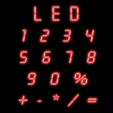Led numbers red on a black background