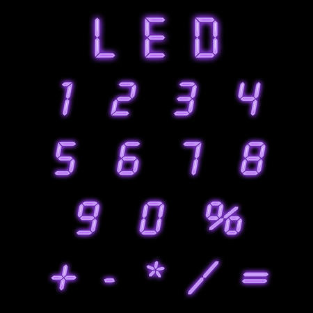 indicator board: Led numbers purple on a black background Stock Photo