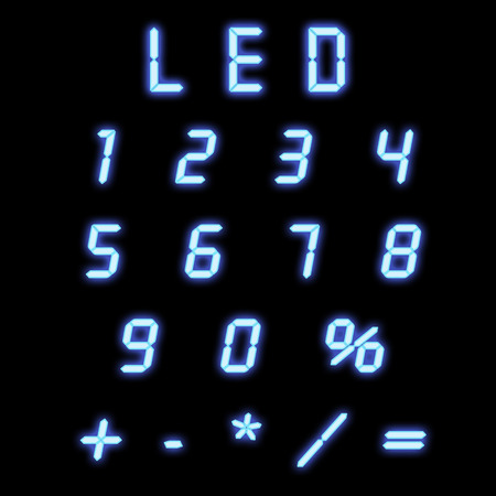 Led numbers blue on a black background