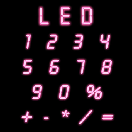 indicator board: Led numbers pink on a black background