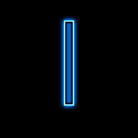 tipos de letras: neón de la letra I azul sobre un fondo negro Foto de archivo