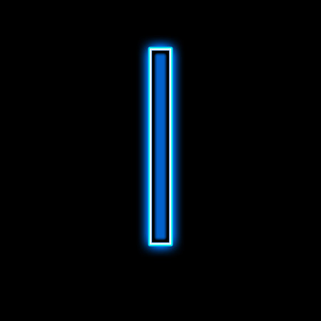 alphabetical letters: Neon letter I blue on a black background