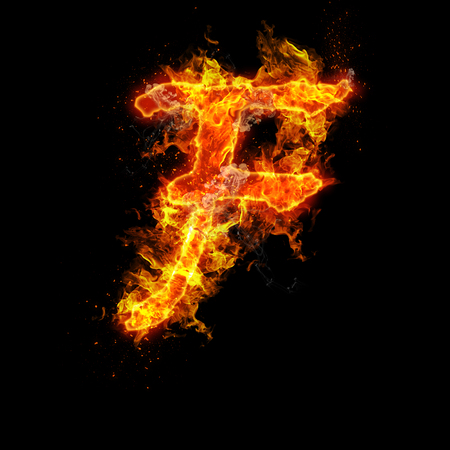 fervent: Fire letter F isolated on black background