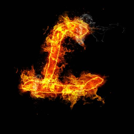 Fire letter L isolated on black background