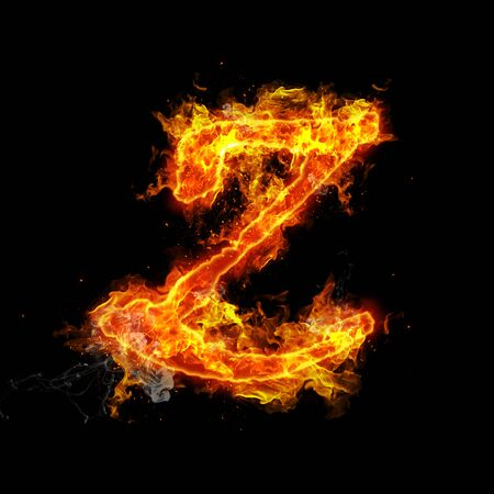 fervent: Fire letter Z isolated on black background
