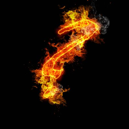 fervent: Fire the question mark isolated on black background Stock Photo