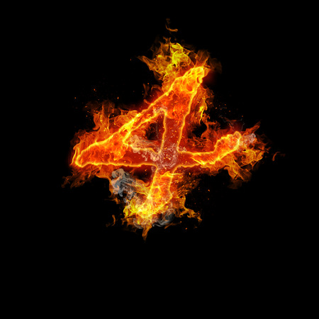 fervent: Number four fire on a black background. Stock Photo
