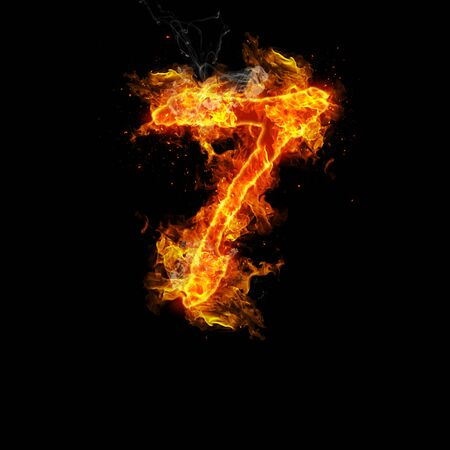 fervent: Number seven fire on a black background. Stock Photo