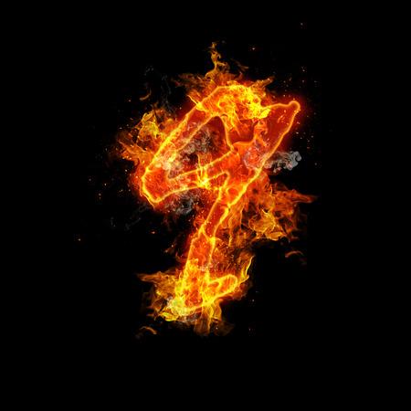 Number nine fire on a black background.