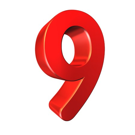 nine: red number collection - nine on white background. Stock Photo