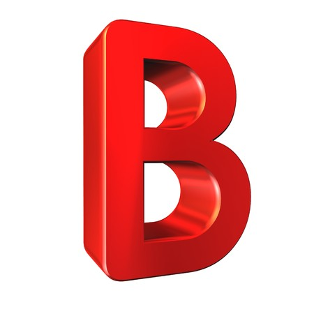 b: Red 3d letter B isolated white background.