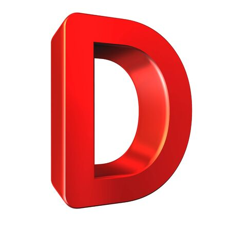 d: Red 3d letter D isolated white background. Stock Photo