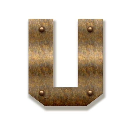 Rusty metal letter U. Alphabet isolated on white background.