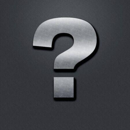 chromium: Question mark shabby metal chromium. Question mark Stock Photo