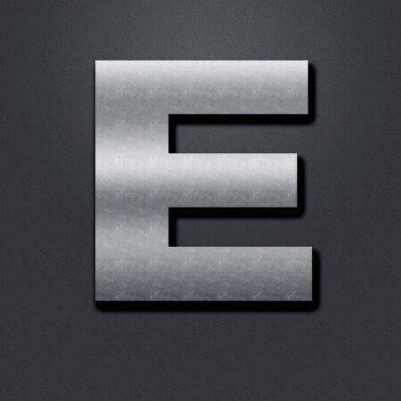 chromium: Letter shabby metal chromium. Letter shabby metal E