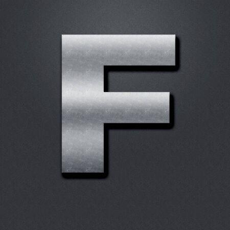 chromium: Letter shabby metal chromium. Letter shabby metal F