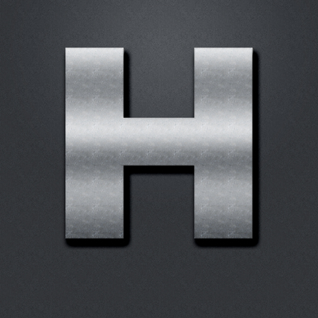 chromium: Letter shabby metal chromium. Letter shabby metal H Stock Photo