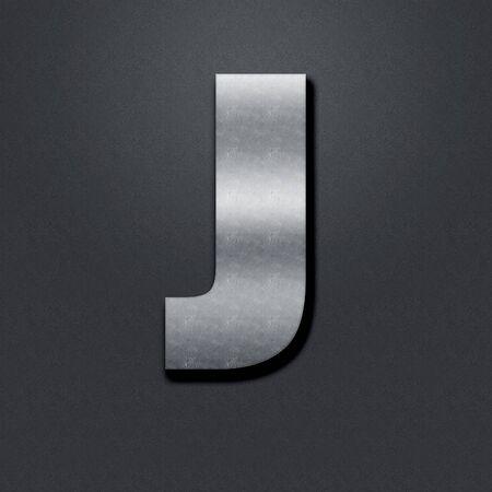 chromium: Letter shabby metal chromium. Letter shabby metal J Stock Photo