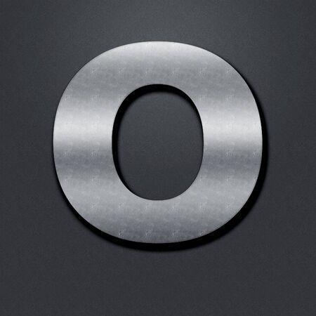 chromium: Letter shabby metal chromium. Letter shabby metal O