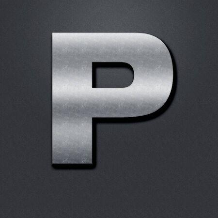 chromium: Letter shabby metal chromium. Letter shabby metal P